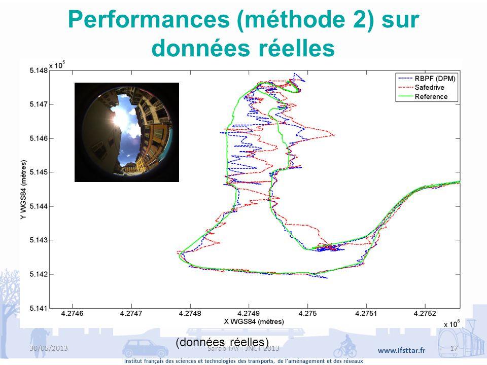 Institut français des sciences et technologies des transports, de laménagement et des réseaux www.ifsttar.fr Performances (méthode 2) sur données réel