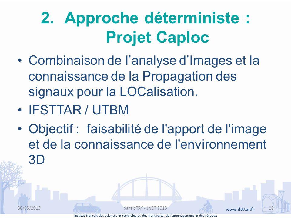 Institut français des sciences et technologies des transports, de laménagement et des réseaux www.ifsttar.fr 2.Approche déterministe : Projet Caploc C