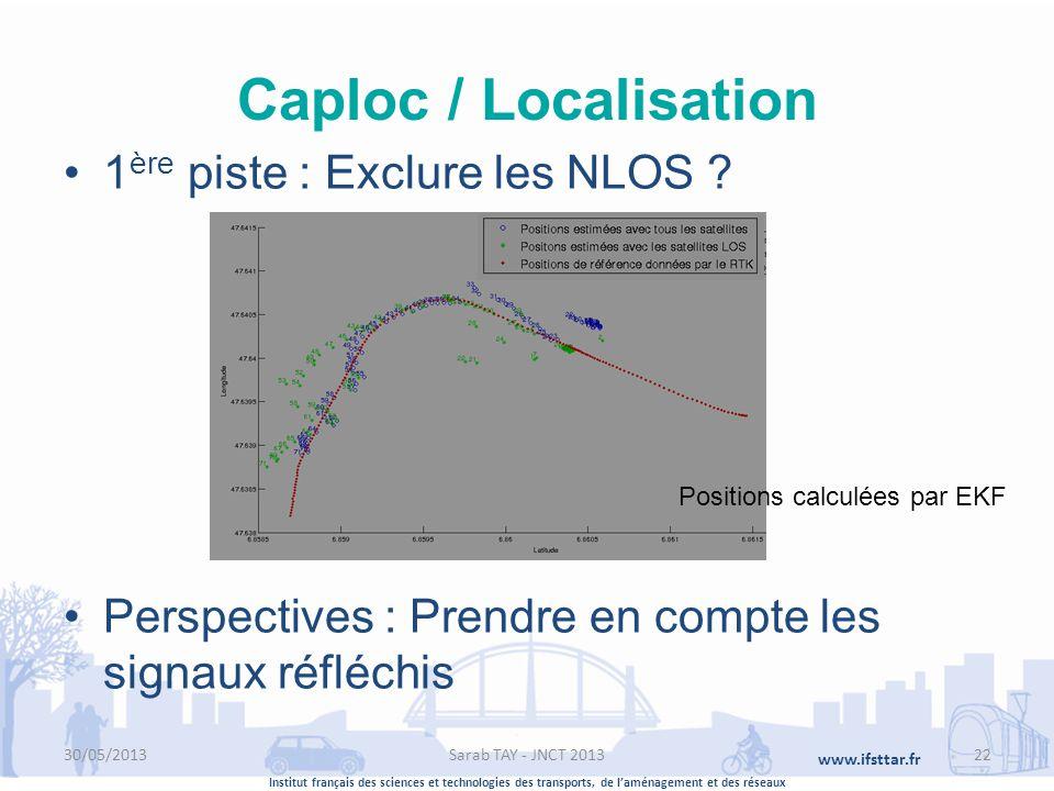 Institut français des sciences et technologies des transports, de laménagement et des réseaux www.ifsttar.fr Caploc / Localisation 1 ère piste : Exclu