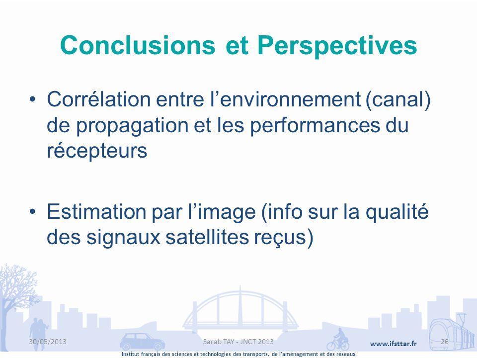 Institut français des sciences et technologies des transports, de laménagement et des réseaux www.ifsttar.fr Conclusions et Perspectives Corrélation e