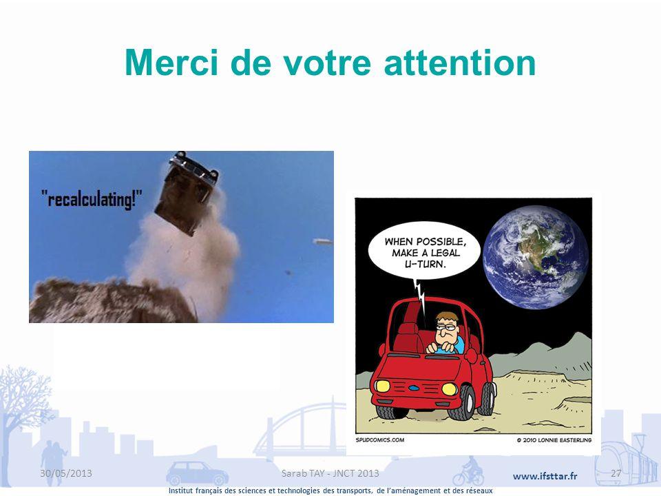 Institut français des sciences et technologies des transports, de laménagement et des réseaux www.ifsttar.fr Merci de votre attention Ifsttar 14-20 Bl