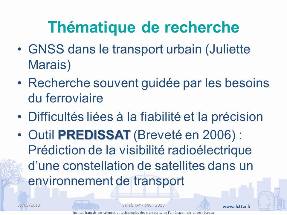 Institut français des sciences et technologies des transports, de laménagement et des réseaux www.ifsttar.fr Thématique de recherche GNSS dans le tran