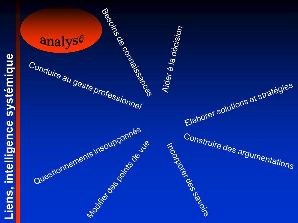 Elaborer solutions et stratégies Construire des argumentations Liens, intelligence systémique Questionnements insoupçonnés Modifier des points de vue