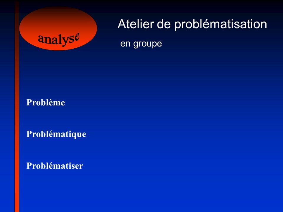 Atelier de problématisation en groupe Problème Problématique Problématiser