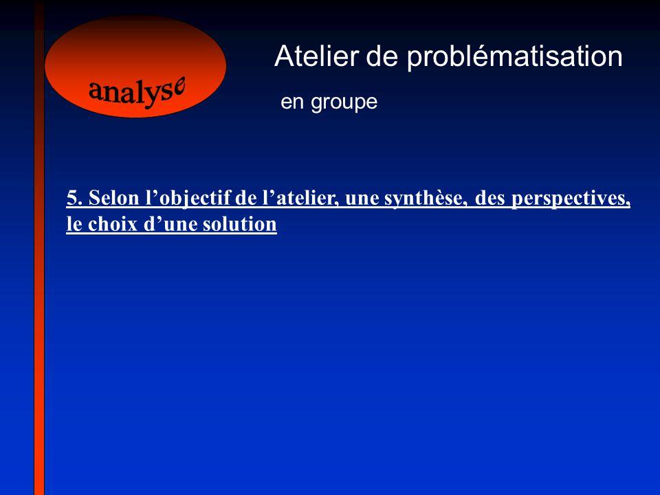Atelier de problématisation en groupe 5. Selon lobjectif de latelier, une synthèse, des perspectives, le choix dune solution