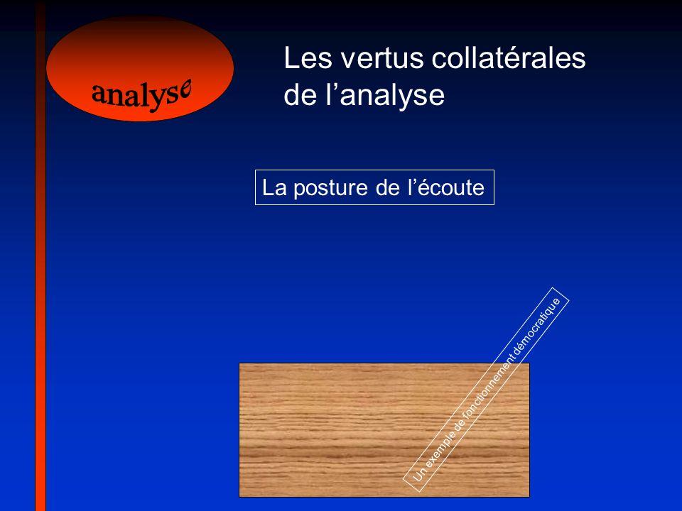 Les vertus collatérales de lanalyse Un exemple de fonctionnement démocratique La posture de lécoute