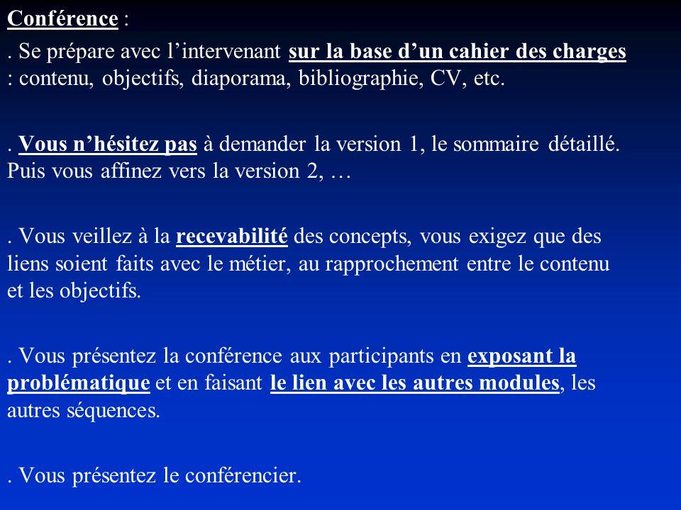 Conférence :. Se prépare avec lintervenant sur la base dun cahier des charges : contenu, objectifs, diaporama, bibliographie, CV, etc.. Vous nhésitez