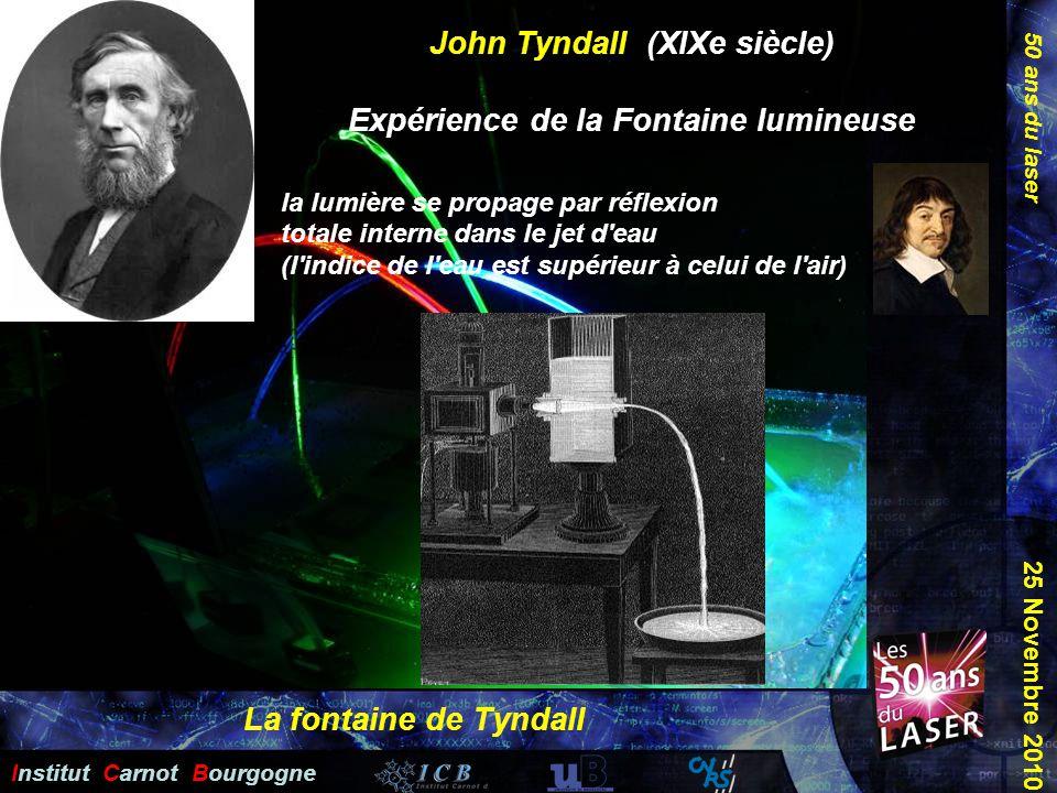 50 ans du laser Institut Carnot Bourgogne 25 Novembre 2010 John Tyndall (XIXe siècle) Expérience de la Fontaine lumineuse la lumière se propage par ré