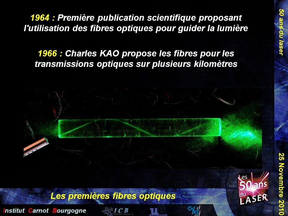 50 ans du laser Institut Carnot Bourgogne 25 Novembre 2010 1964 : Première publication scientifique proposant l'utilisation des fibres optiques pour g