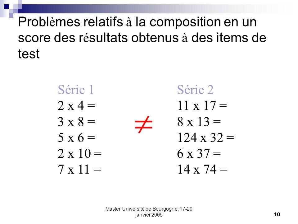 Master Université de Bourgogne, 17-20 janvier 200510 Probl è mes relatifs à la composition en un score des r é sultats obtenus à des items de test Série 1Série 2 2 x 4 =11 x 17 = 3 x 8 =8 x 13 = 5 x 6 =124 x 32 = 2 x 10 =6 x 37 = 7 x 11 =14 x 74 =
