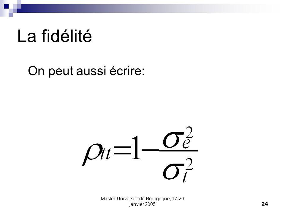 Master Université de Bourgogne, 17-20 janvier 200524 La fidélité On peut aussi écrire: