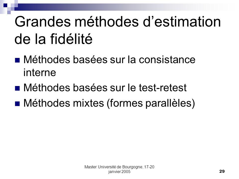 Master Université de Bourgogne, 17-20 janvier 200529 Grandes méthodes destimation de la fidélité Méthodes basées sur la consistance interne Méthodes b