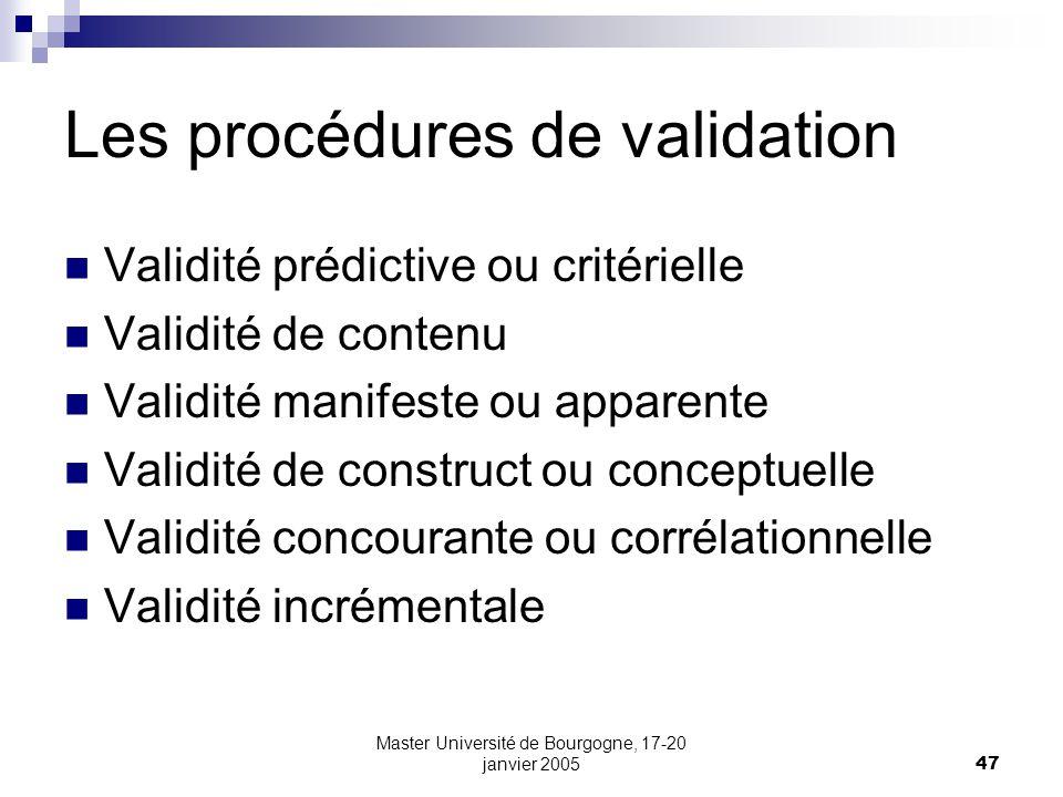 Master Université de Bourgogne, 17-20 janvier 200547 Les procédures de validation Validité prédictive ou critérielle Validité de contenu Validité mani