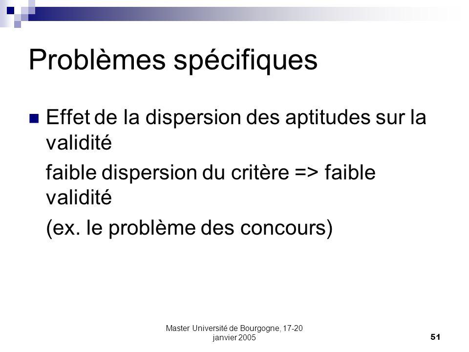 Master Université de Bourgogne, 17-20 janvier 200551 Effet de la dispersion des aptitudes sur la validité faible dispersion du critère => faible valid