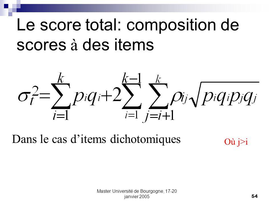 Master Université de Bourgogne, 17-20 janvier 200554 Le score total: composition de scores à des items Dans le cas ditems dichotomiques Où j>i