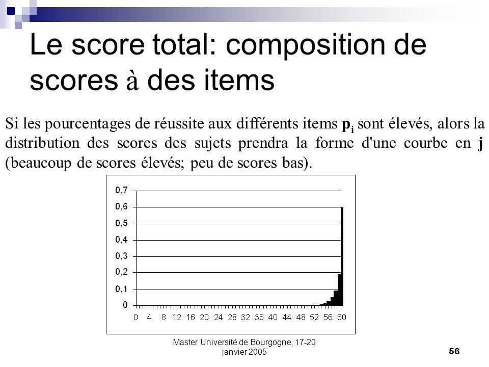 Master Université de Bourgogne, 17-20 janvier 200556 Le score total: composition de scores à des items Si les pourcentages de réussite aux différents items p i sont élevés, alors la distribution des scores des sujets prendra la forme d une courbe en j (beaucoup de scores élevés; peu de scores bas).