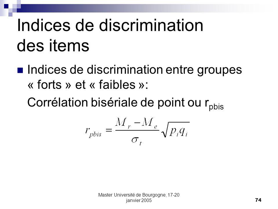 Master Université de Bourgogne, 17-20 janvier 200574 Indices de discrimination des items Indices de discrimination entre groupes « forts » et « faible