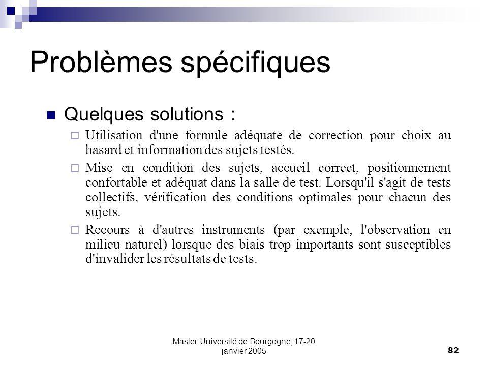 Master Université de Bourgogne, 17-20 janvier 200582 Problèmes spécifiques Quelques solutions : Utilisation d une formule adéquate de correction pour choix au hasard et information des sujets testés.