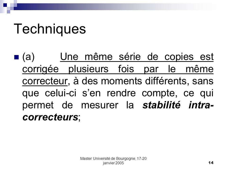 Master Université de Bourgogne, 17-20 janvier 200514 Techniques (a) Une même série de copies est corrigée plusieurs fois par le même correcteur, à des