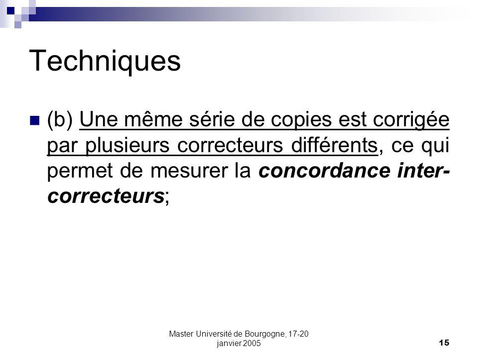 Master Université de Bourgogne, 17-20 janvier 200515 Techniques (b) Une même série de copies est corrigée par plusieurs correcteurs différents, ce qui