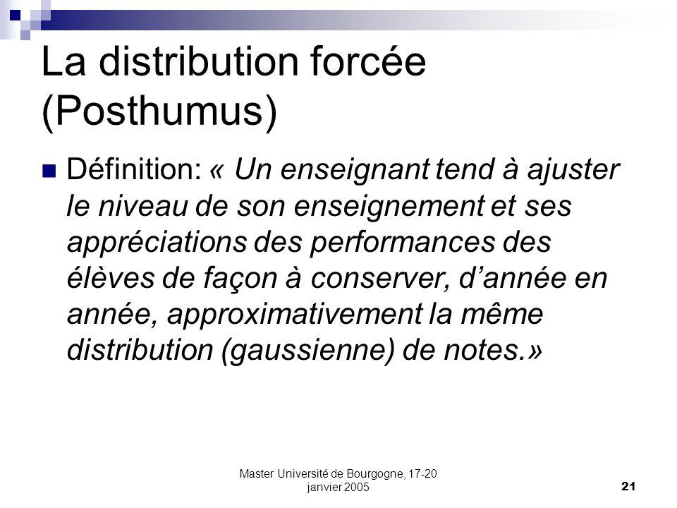 Master Université de Bourgogne, 17-20 janvier 200521 La distribution forcée (Posthumus) Définition: « Un enseignant tend à ajuster le niveau de son en