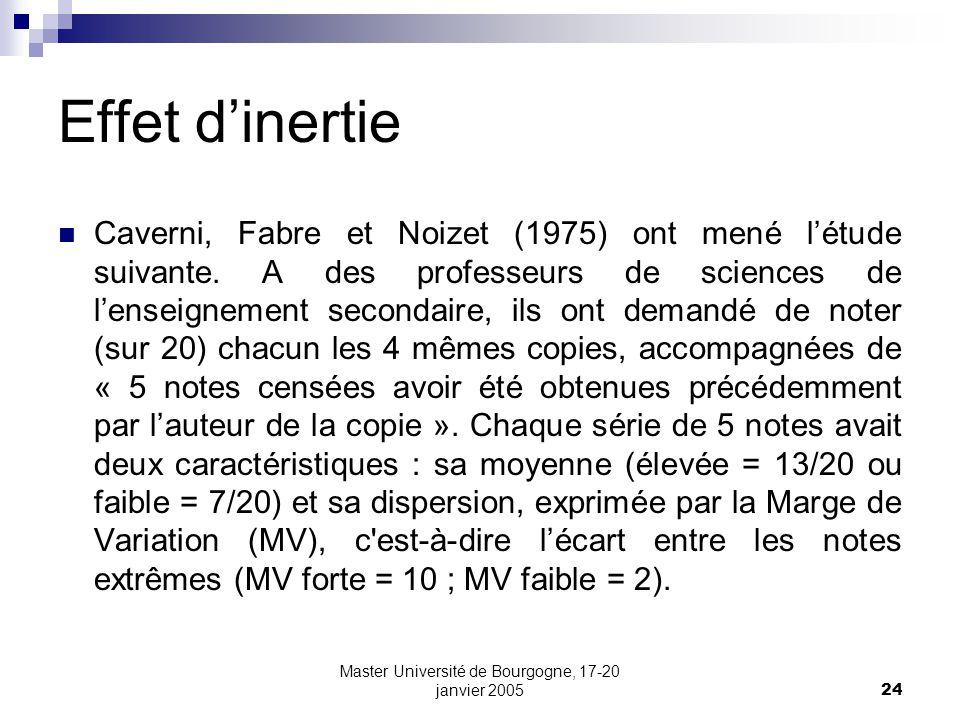 Master Université de Bourgogne, 17-20 janvier 200524 Effet dinertie Caverni, Fabre et Noizet (1975) ont mené létude suivante. A des professeurs de sci