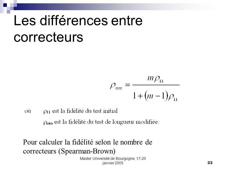 Master Université de Bourgogne, 17-20 janvier 200533 Les différences entre correcteurs Pour calculer la fidélité selon le nombre de correcteurs (Spear