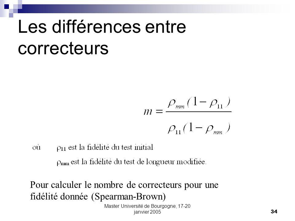 Master Université de Bourgogne, 17-20 janvier 200534 Les différences entre correcteurs Pour calculer le nombre de correcteurs pour une fidélité donnée