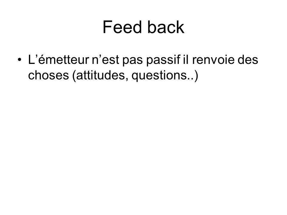 Feed back Lémetteur nest pas passif il renvoie des choses (attitudes, questions..)