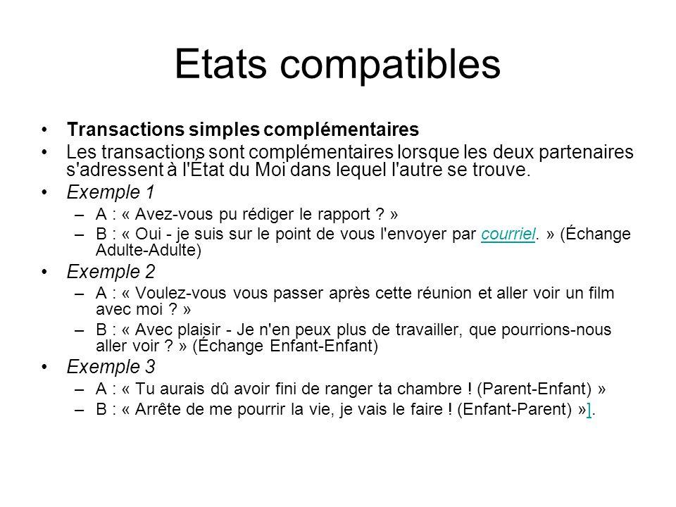 Etats compatibles Transactions simples complémentaires Les transactions sont complémentaires lorsque les deux partenaires s'adressent à l'État du Moi