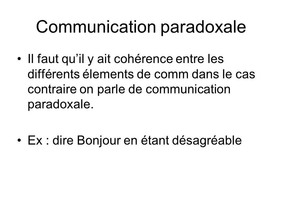 Communication paradoxale Il faut quil y ait cohérence entre les différents élements de comm dans le cas contraire on parle de communication paradoxale
