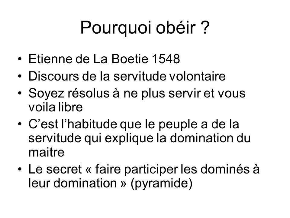 Pourquoi obéir ? Etienne de La Boetie 1548 Discours de la servitude volontaire Soyez résolus à ne plus servir et vous voila libre Cest lhabitude que l