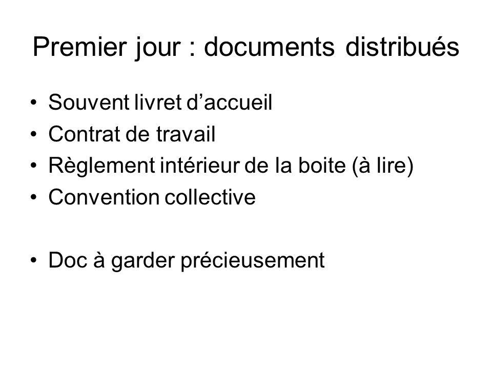 Premier jour : documents distribués Souvent livret daccueil Contrat de travail Règlement intérieur de la boite (à lire) Convention collective Doc à ga