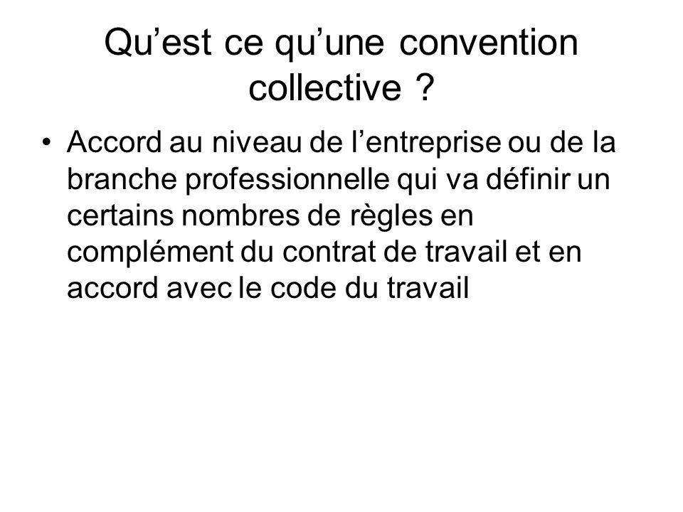 Quest ce quune convention collective ? Accord au niveau de lentreprise ou de la branche professionnelle qui va définir un certains nombres de règles e