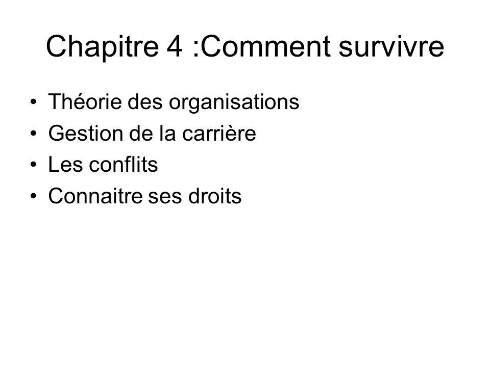 Chapitre 4 :Comment survivre Théorie des organisations Gestion de la carrière Les conflits Connaitre ses droits