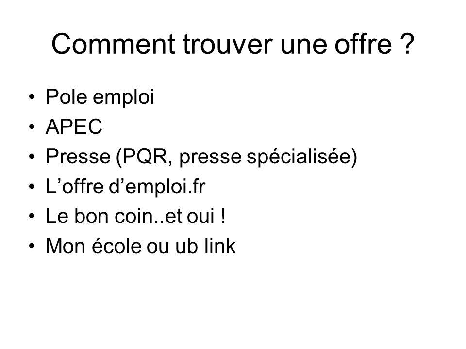 Comment trouver une offre ? Pole emploi APEC Presse (PQR, presse spécialisée) Loffre demploi.fr Le bon coin..et oui ! Mon école ou ub link