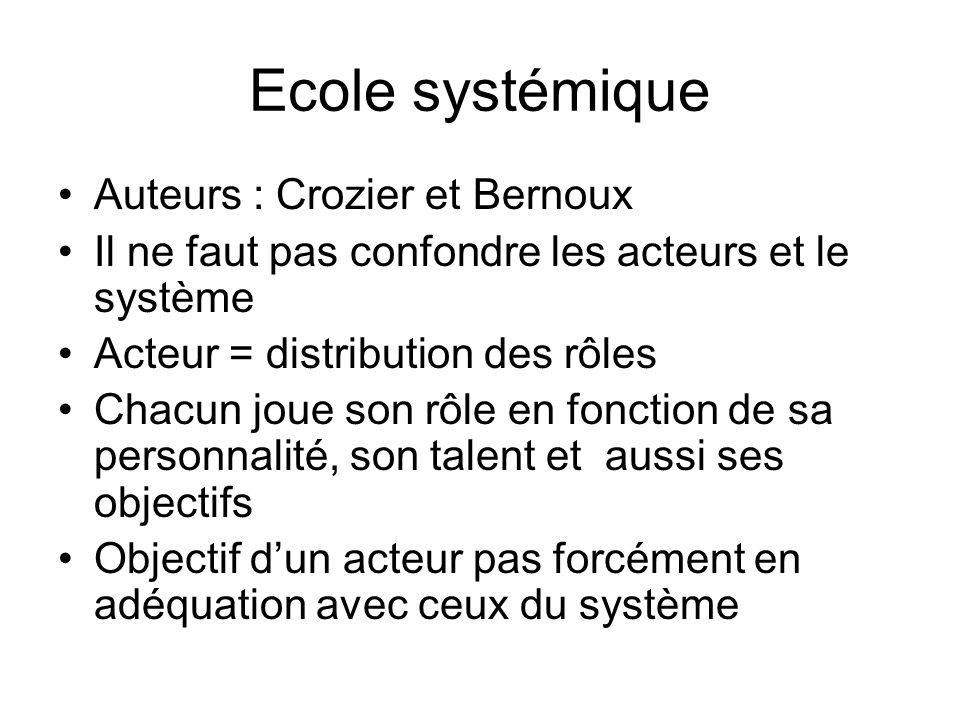 Ecole systémique Auteurs : Crozier et Bernoux Il ne faut pas confondre les acteurs et le système Acteur = distribution des rôles Chacun joue son rôle