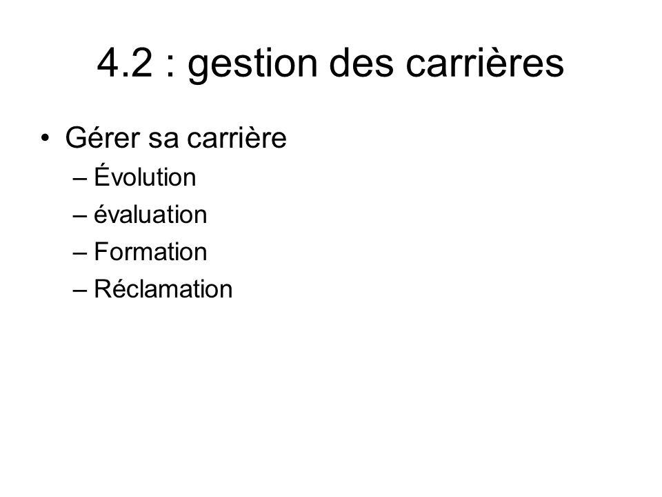 4.2 : gestion des carrières Gérer sa carrière –Évolution –évaluation –Formation –Réclamation