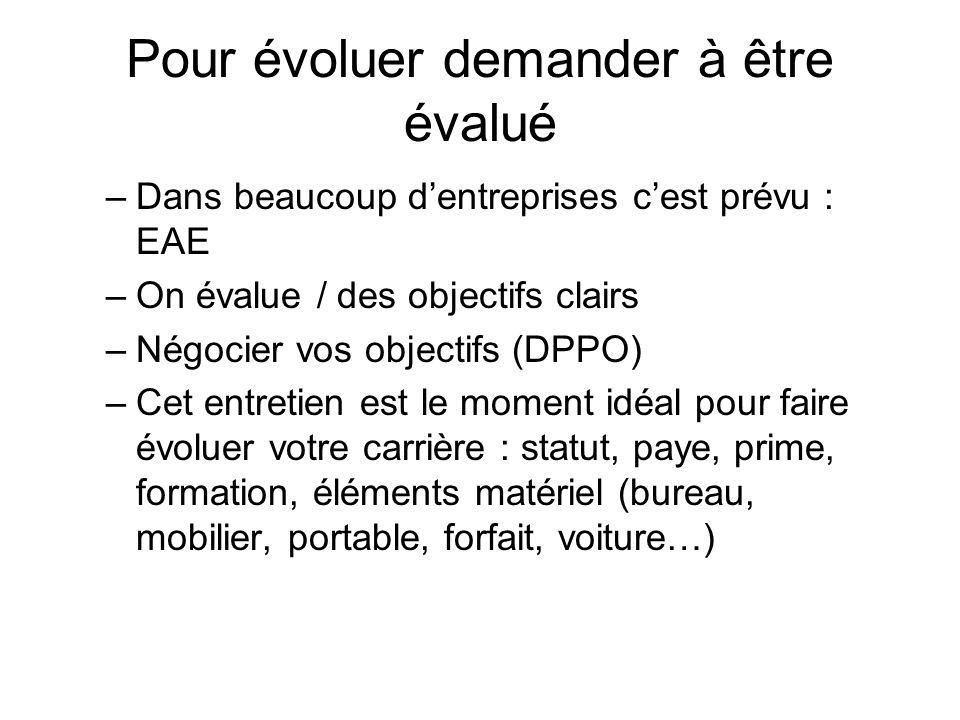 Pour évoluer demander à être évalué –Dans beaucoup dentreprises cest prévu : EAE –On évalue / des objectifs clairs –Négocier vos objectifs (DPPO) –Cet