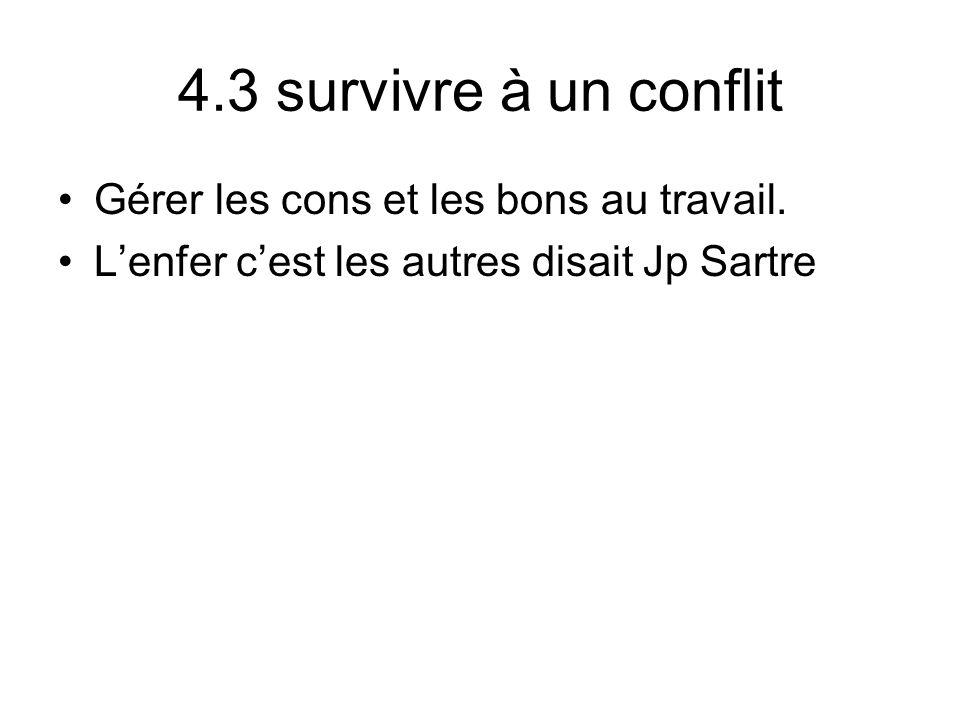 4.3 survivre à un conflit Gérer les cons et les bons au travail. Lenfer cest les autres disait Jp Sartre