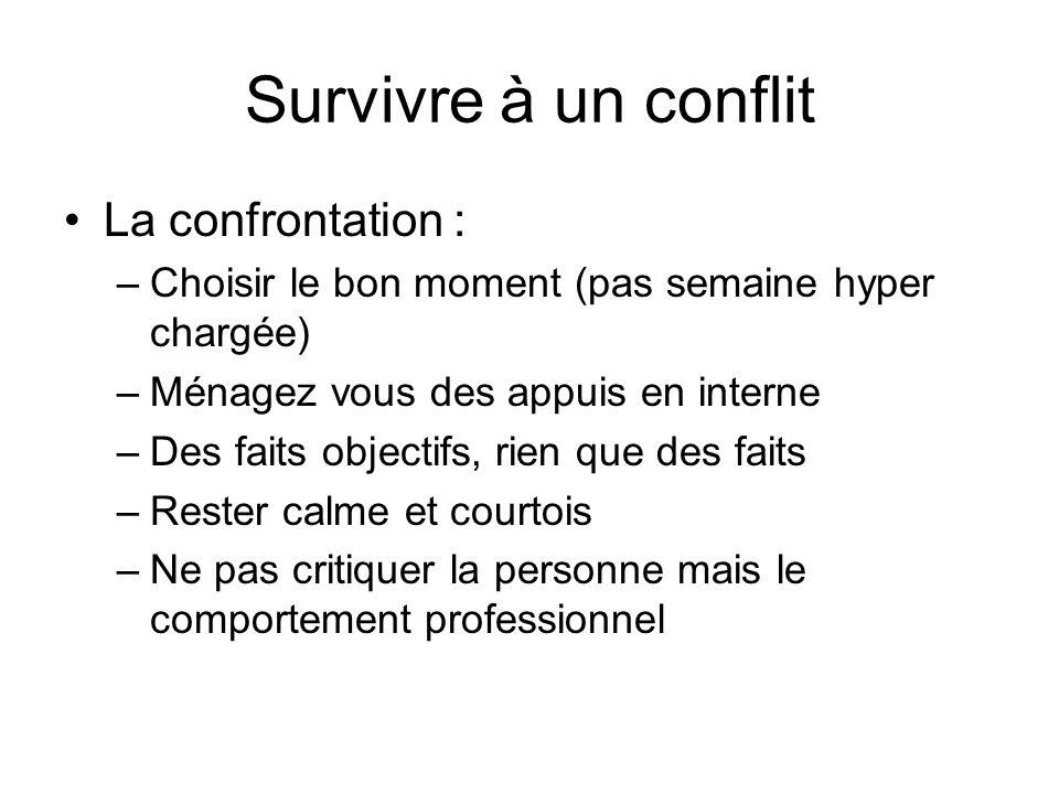 Survivre à un conflit La confrontation : –Choisir le bon moment (pas semaine hyper chargée) –Ménagez vous des appuis en interne –Des faits objectifs,