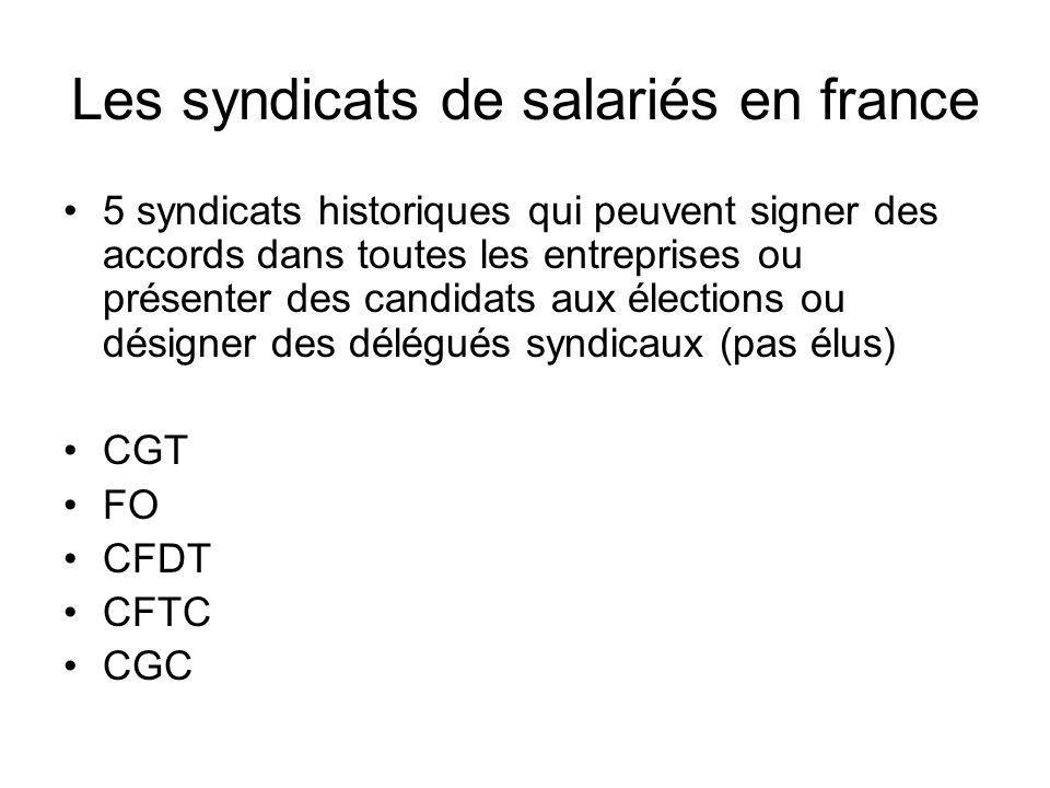 Les syndicats de salariés en france 5 syndicats historiques qui peuvent signer des accords dans toutes les entreprises ou présenter des candidats aux