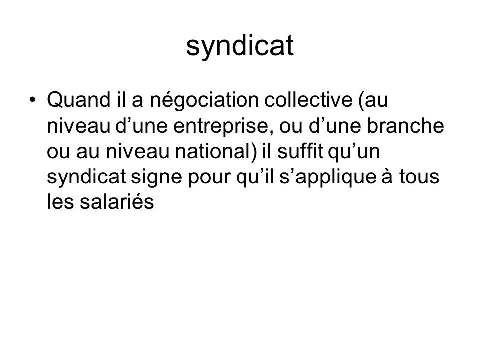syndicat Quand il a négociation collective (au niveau dune entreprise, ou dune branche ou au niveau national) il suffit quun syndicat signe pour quil