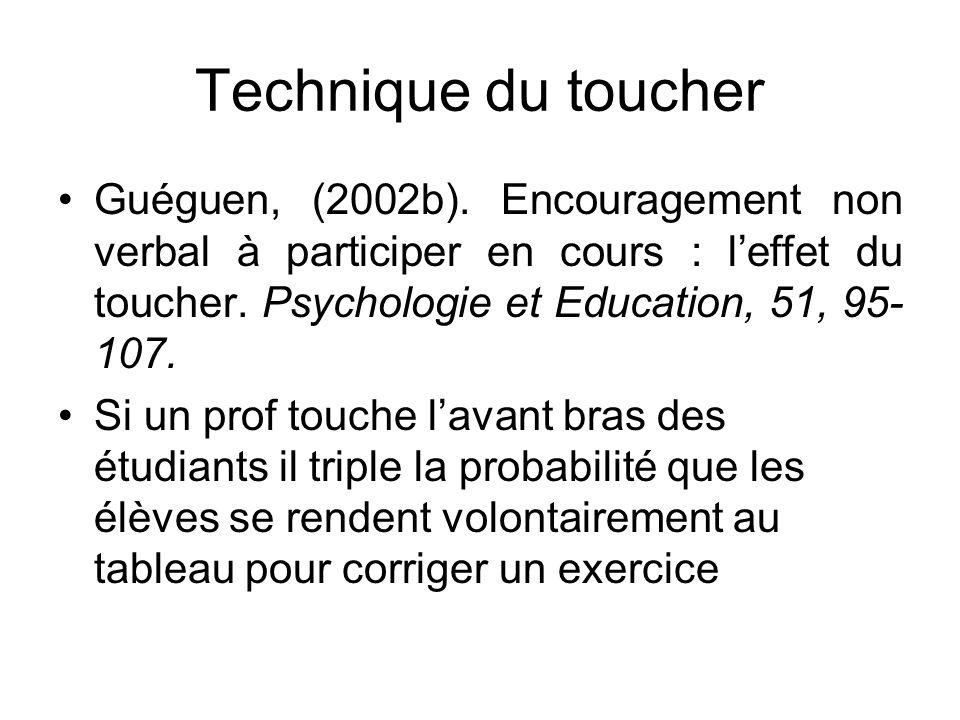 Technique du toucher Guéguen, (2002b). Encouragement non verbal à participer en cours : leffet du toucher. Psychologie et Education, 51, 95- 107. Si u