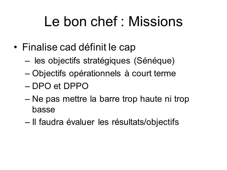 Le bon chef : Missions Finalise cad définit le cap – les objectifs stratégiques (Sénéque) –Objectifs opérationnels à court terme –DPO et DPPO –Ne pas