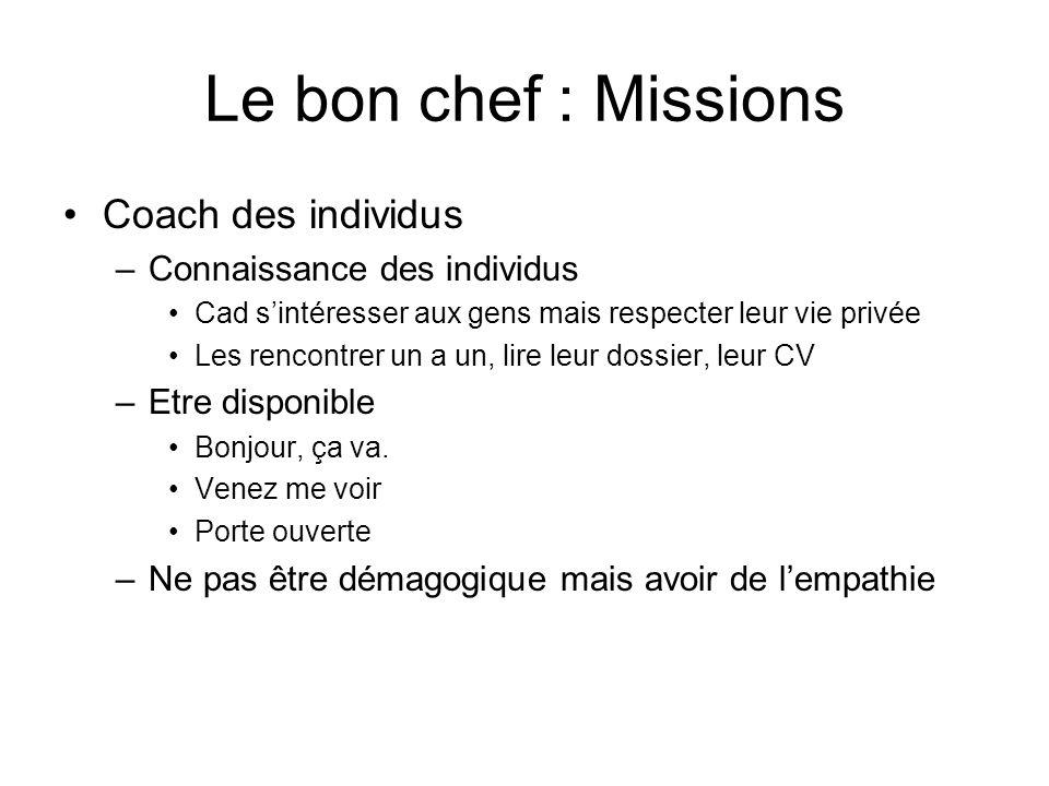 Le bon chef : Missions Coach des individus –Connaissance des individus Cad sintéresser aux gens mais respecter leur vie privée Les rencontrer un a un,