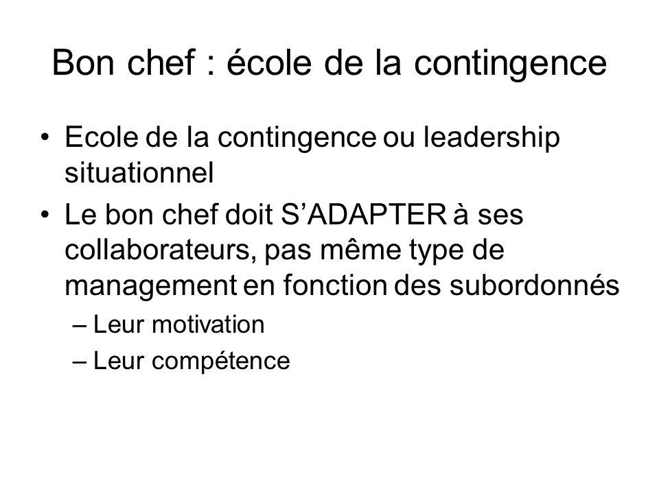 Bon chef : école de la contingence Ecole de la contingence ou leadership situationnel Le bon chef doit SADAPTER à ses collaborateurs, pas même type de