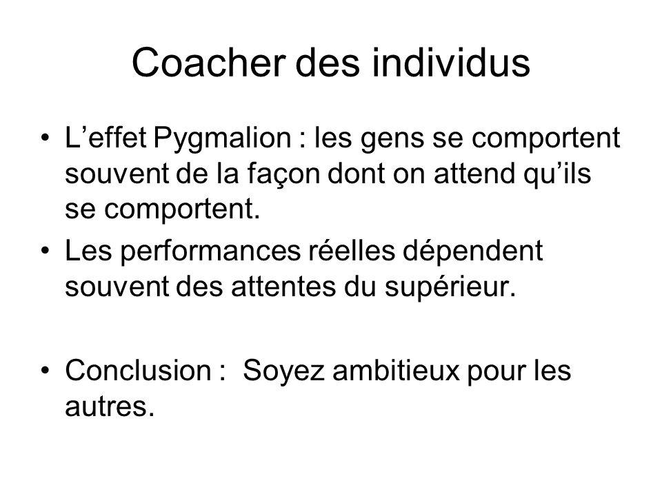 Coacher des individus Leffet Pygmalion : les gens se comportent souvent de la façon dont on attend quils se comportent. Les performances réelles dépen