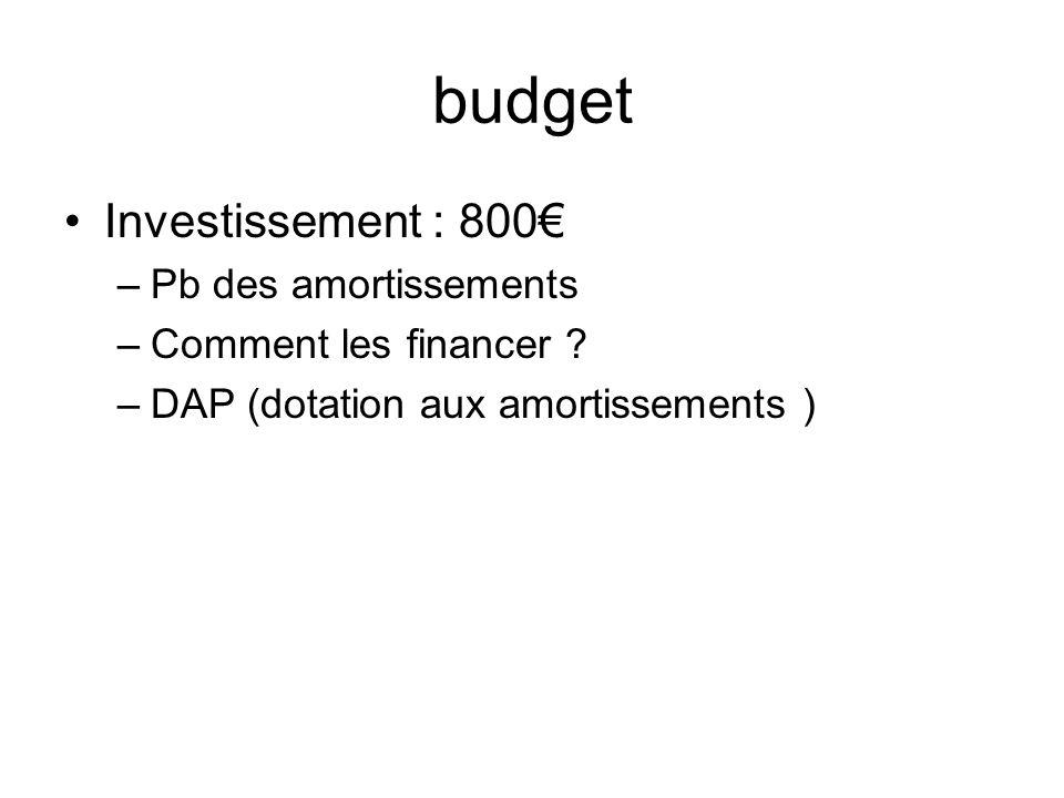 budget Investissement : 800 –Pb des amortissements –Comment les financer ? –DAP (dotation aux amortissements )