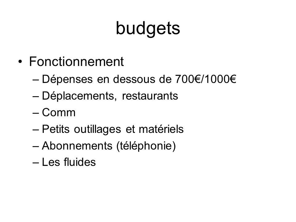 budgets Fonctionnement –Dépenses en dessous de 700/1000 –Déplacements, restaurants –Comm –Petits outillages et matériels –Abonnements (téléphonie) –Le
